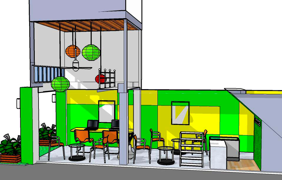 Buzz cafe 3 blueprint design a 3d design draft for the juice bar on ratchadamnoen road chiang mai malvernweather Images
