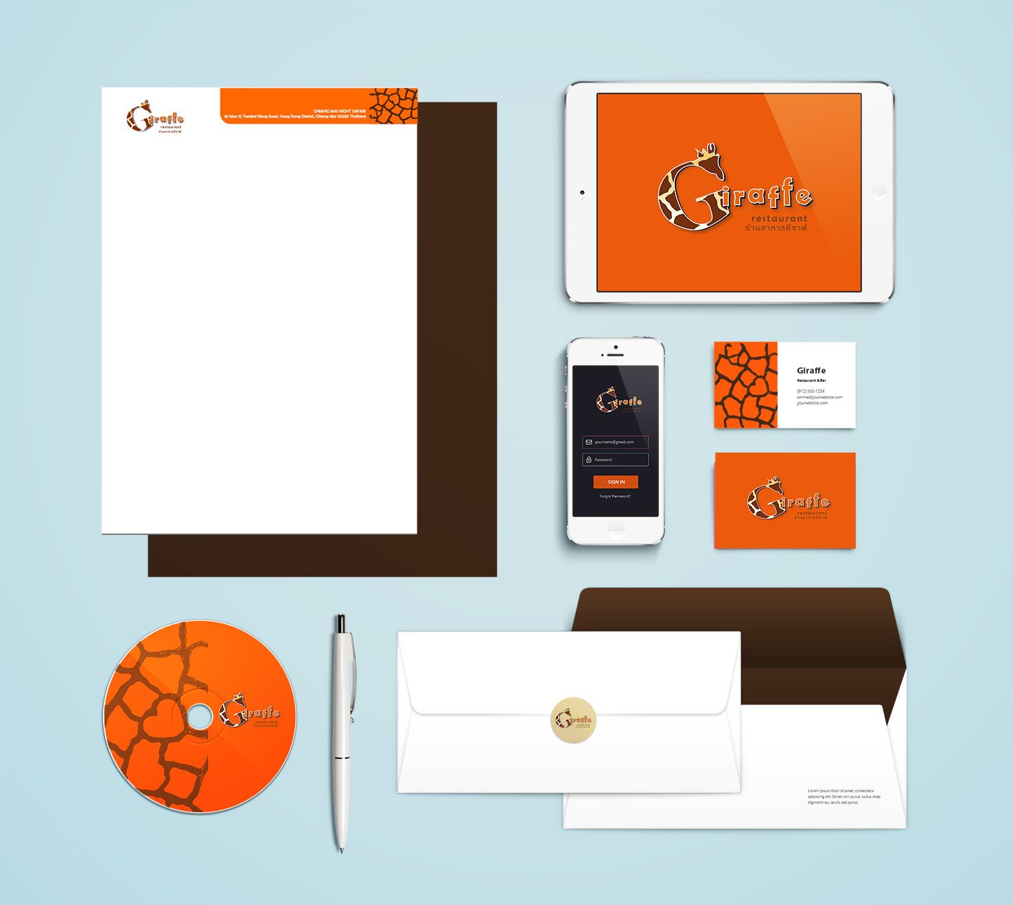 brand identiry design for a stationary mockup
