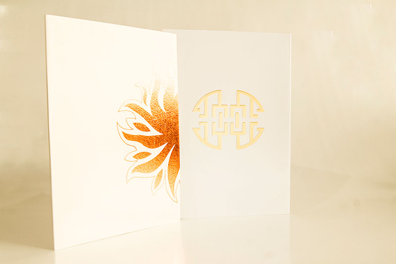 hot foil stamping on menu cover